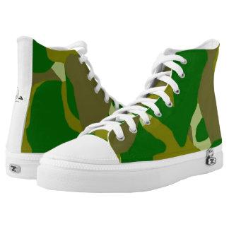 Camo Green Dark Hi-Top Tennis Shoes