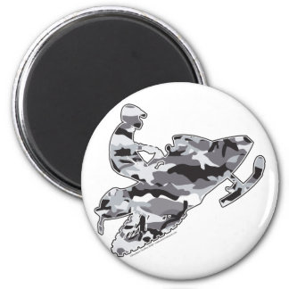 Camo Grey Sled on Black copy 2 Inch Round Magnet