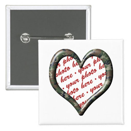 Camo Heart - Forest - Template Photo Frame Pinback Button