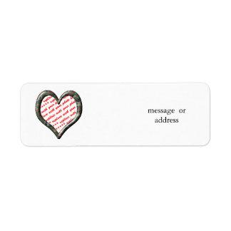 Camo Heart - Forest - Template Photo Frame Return Address Label