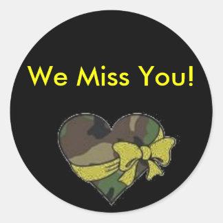 camo heart, We Miss You! Classic Round Sticker