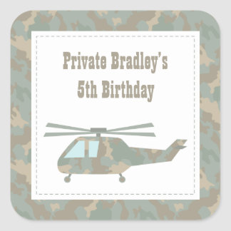 Camo Helicopter Army Boys Birthday Party Stickers
