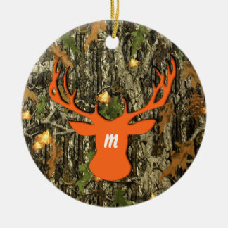 Camo Hunting Deer Monogram Ornament