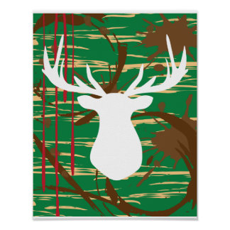 Camo Hunting Style Stag Art Print