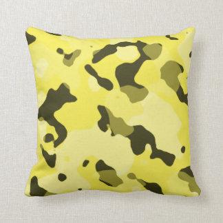 Camo jaune citron ; Camouflage Coussin Décoratif