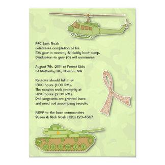 Camo Military Birthday Flat Invitation