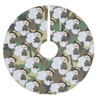 Camo Military Christmas Snowman Brushed Polyester Tree Skirt