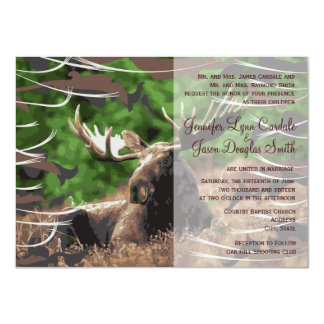 Camo Moose Hunting Theme Wedding Invitations