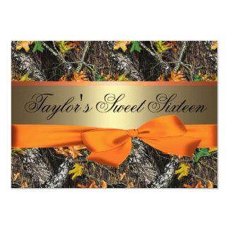 Camo & Orange Sweet Sixteen Invitation