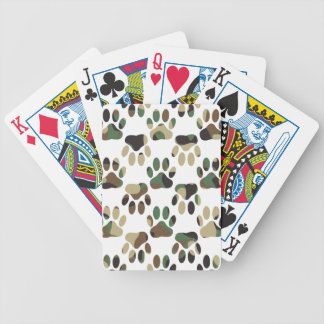 Camo Pattern Dog Paw Print Bicycle Playing Cards