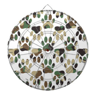 Camo Pattern Dog Paw Print Dartboard