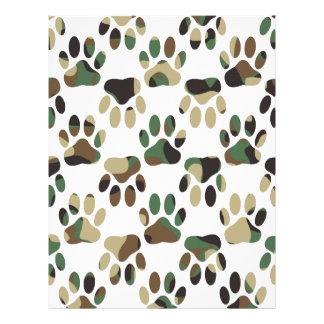 Camo Pattern Dog Paw Print Letterhead