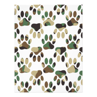 Camo Pattern Dog Paw Print Letterhead Template