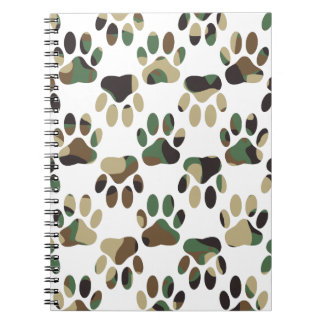 Camo Pattern Dog Paw Print Notebook