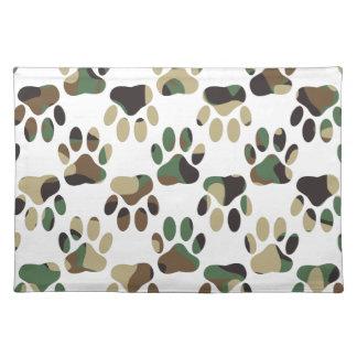 Camo Pattern Dog Paw Print Placemat