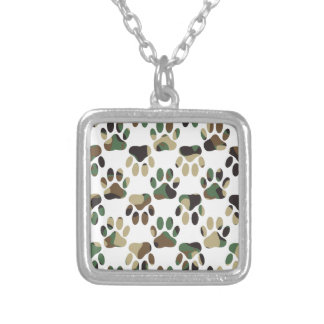 Camo Pattern Dog Paw Print Silver Plated Necklace