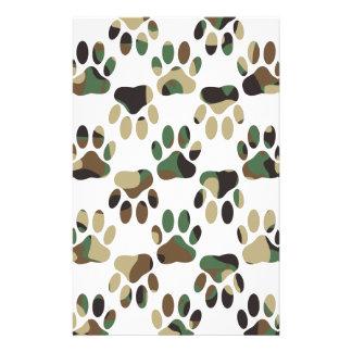 Camo Pattern Dog Paw Print Stationery