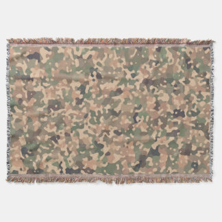 Camo Pattern - Green Orange Brown Black Throw Blanket