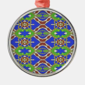 Camo Pattern Silver-Colored Round Ornament