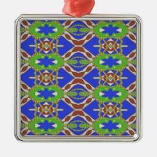 Camo Pattern Silver-Colored Square Ornament