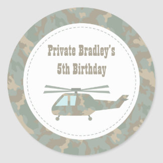 Camo Print Helicopter Army Boys Birthday Party Classic Round Sticker