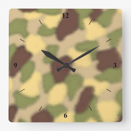 Camo Ripple Square Wall Clock