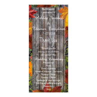 Camo Rustic Wood Fall Leaves Wedding Programs