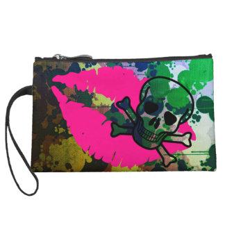 camo skull kisses mini clutch wristlet purses