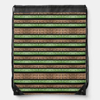 Camo Stripes Print Drawstring Bag