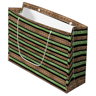 Camo Stripes Print Large Gift Bag