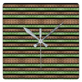 Camo Stripes Print Square Wall Clock
