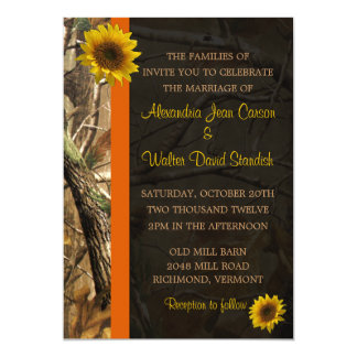 "Camo & Sunflowers 5"" X 7"" Invitation Card"