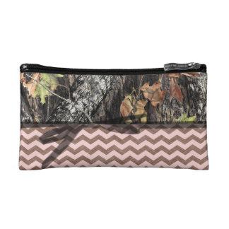 Camo W/ Pink and Brown Chevron Make Up Bag