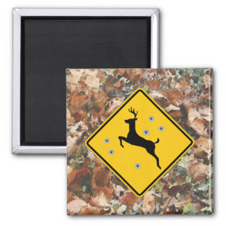 camo with deer crossing r2 inch square magnet
