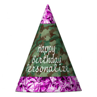 Camo with Faux Pink Foil Party Hat