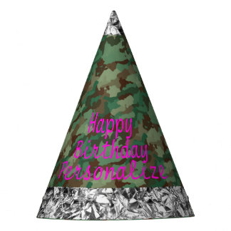Camo with Faux Silver Foil Party Hat