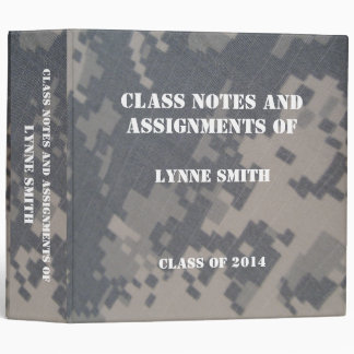 Camoflauge ACU Class Notes, Personalized Vinyl Binder