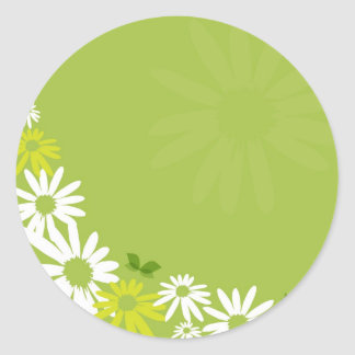 Camomile Flowers Classic Round Sticker
