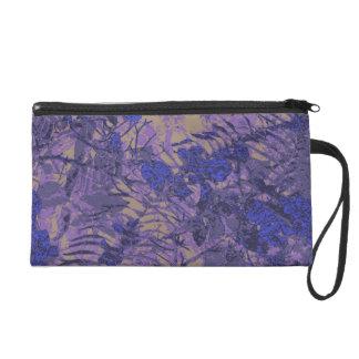 Camouflage against blue flower wristlet purse