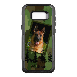 Camouflage and dog photo on black forest wildlife OtterBox commuter samsung galaxy s8+ case