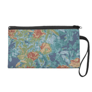 Camouflage and flowers wristlet