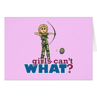 Camouflage Archery Girl - Blonde Greeting Cards