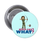 Camouflage Archery Girl - Light 2 Inch Round Button