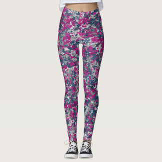 Camouflage blue-grey-pink melange Leggings