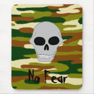 Camouflage Browns and Greens Skull Face No Fear Mouse Pad