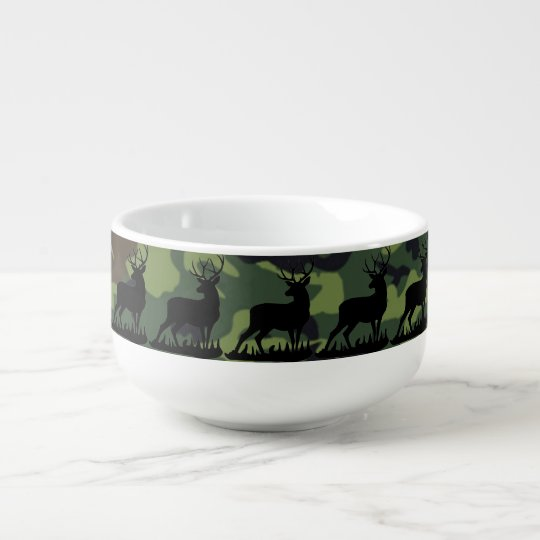 Camouflage Buck Soup Bowl With Handle