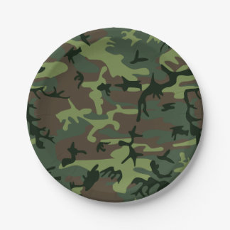Camouflage Camo Green Brown Pattern Paper Plate