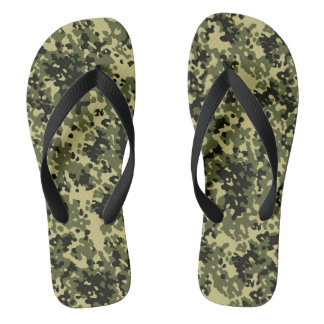 Camouflage Camo Green Yellow Black Flip Flops