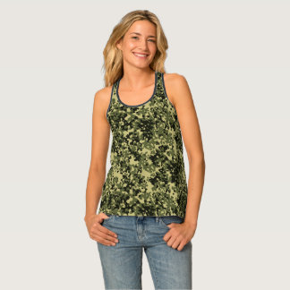 Camouflage Camo Green Yellow Black Tank Top