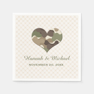CAMOUFLAGE CAMO HEART WEDDING PAPER NAPKINS